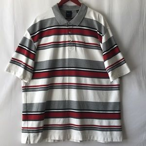 Kari Gold Stripe Polo Men's Short Sleeve Shirt.